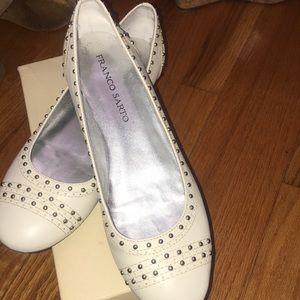 Franco. Sarto cream colored flat shoe .
